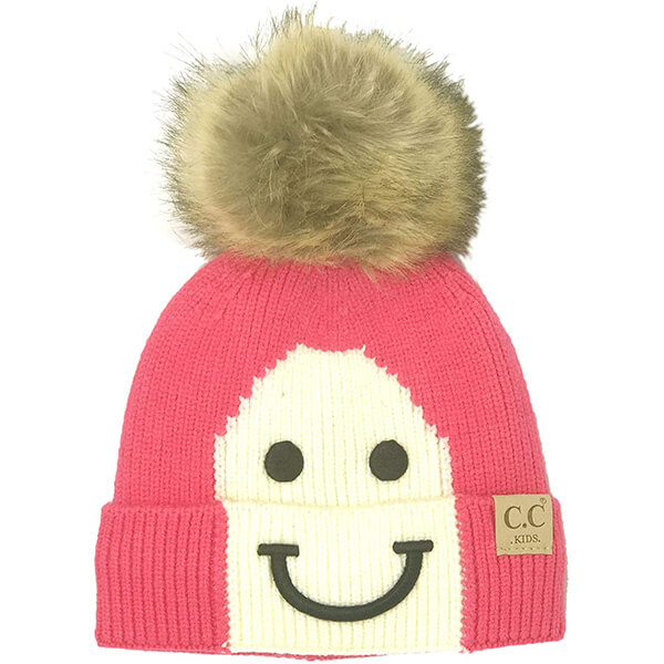 Kids smiley face beanie hats
