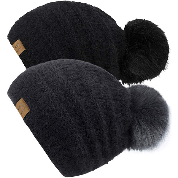 Knit Pom-Pom Fur Beanies Combo at Affordable Prices