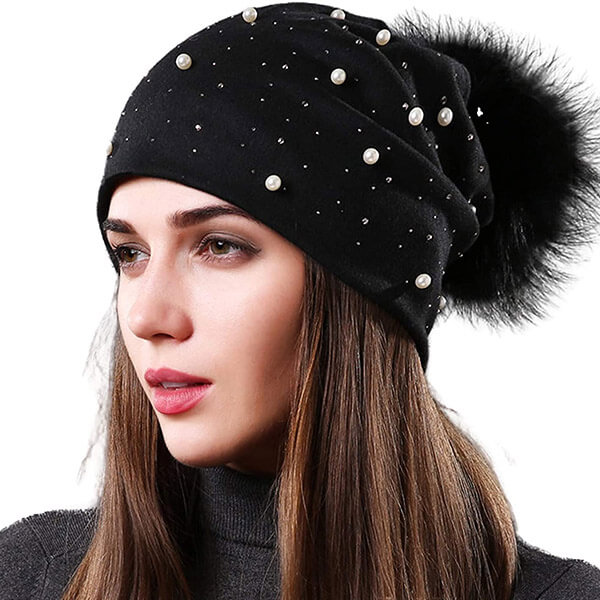 Knitted Pearl Beanie Hat with Pom Pom