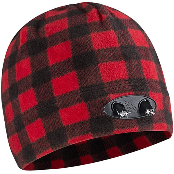 Protective plaid beanie with a headlamp for darker weathers