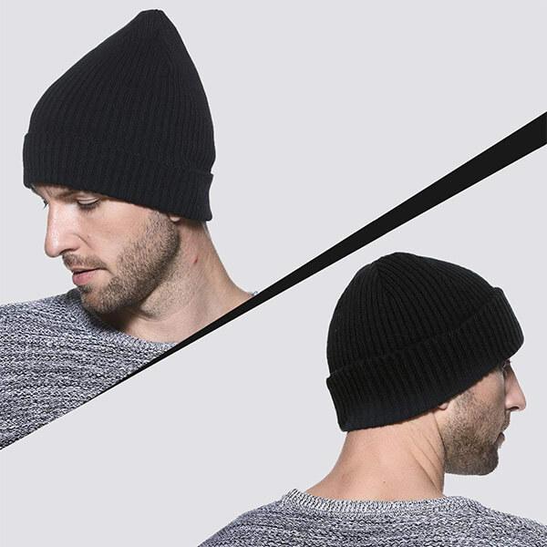 Regular cuff knit beanie set for men and women