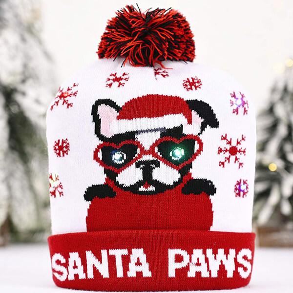 White and red Led Pom-pom Christmas beanie