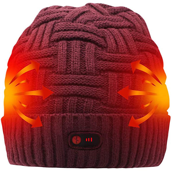 Wine red knit heating  beanie for frigid temperatures