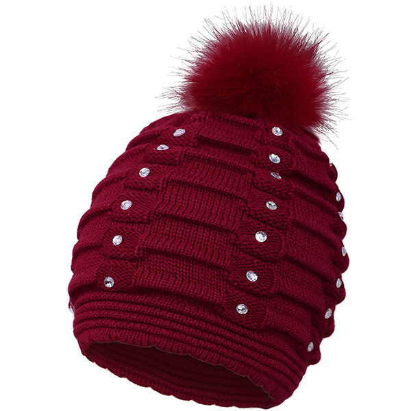 Burgundy red cable knit sequin beanie for you