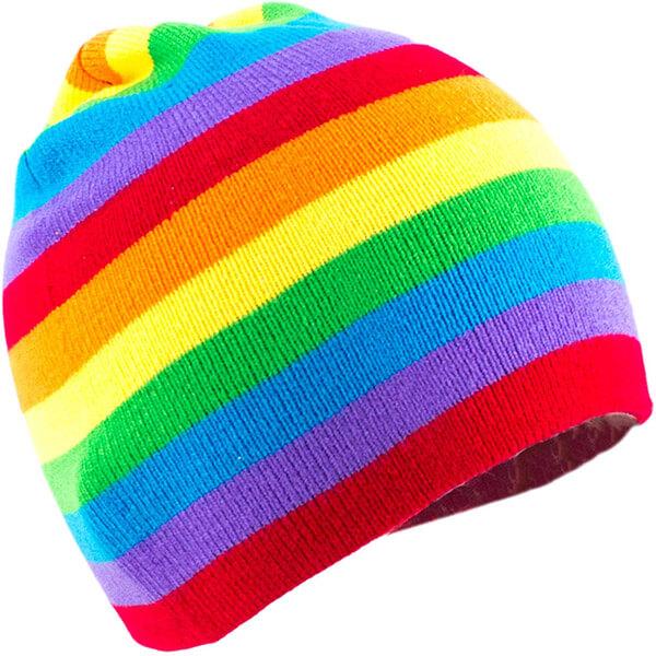Classic Rainbow Striped Knit Beanie