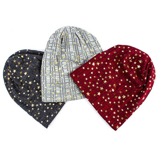 Elegant slouchy star beanie hat for women