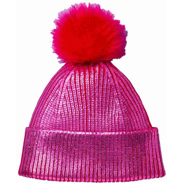 Girls Pink Pom Metallic Beanie