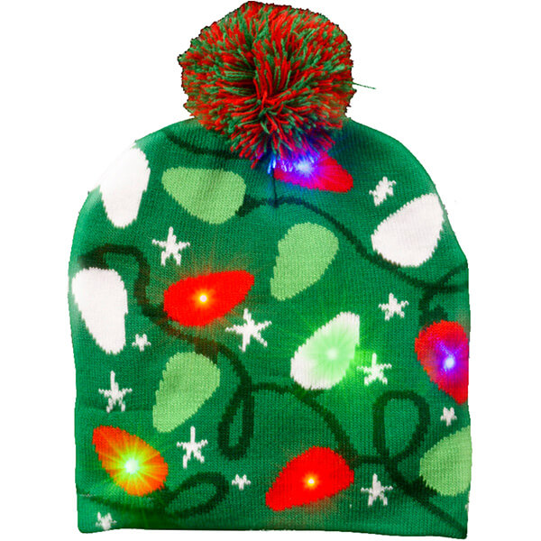Green Christmas light-up beanie at cut-price