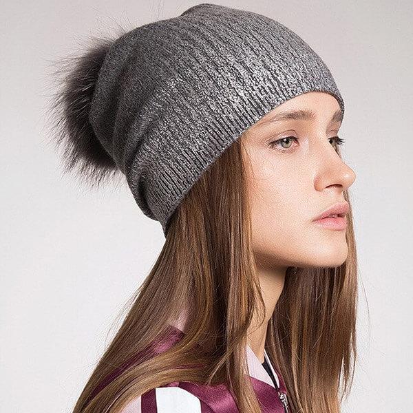 Pom pom slouchy winter hat for women