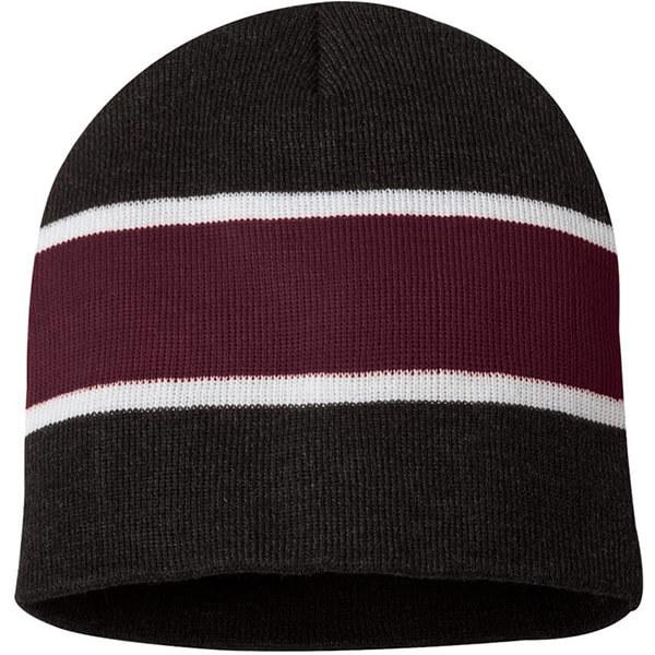 Striped warm knit winter hat