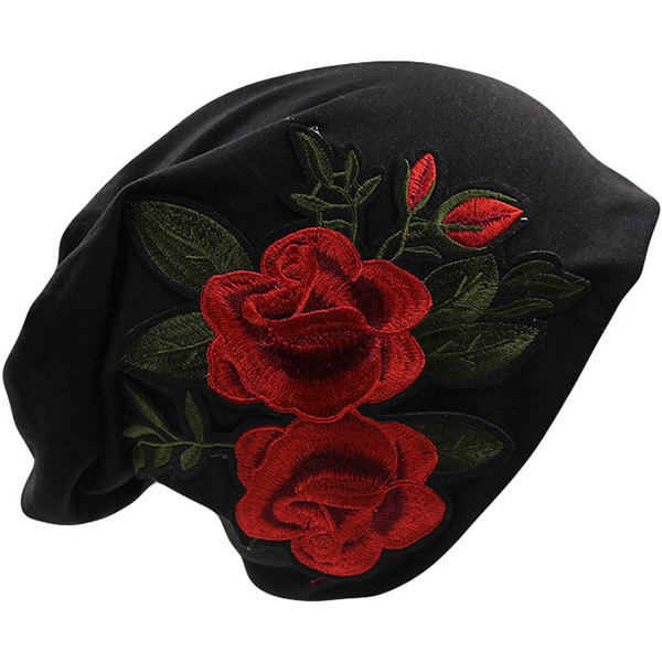 Black slouchy rose embroidery beanie