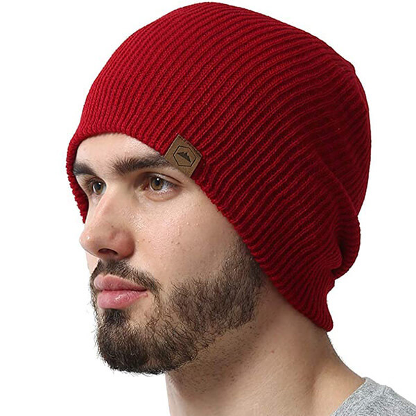 Burgundy red knit beanie for any activities