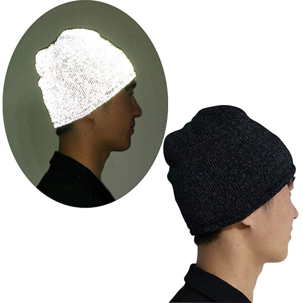 Complete reflective strap knitted white beanie