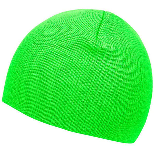 Neon green cuffless beanie for a standout look