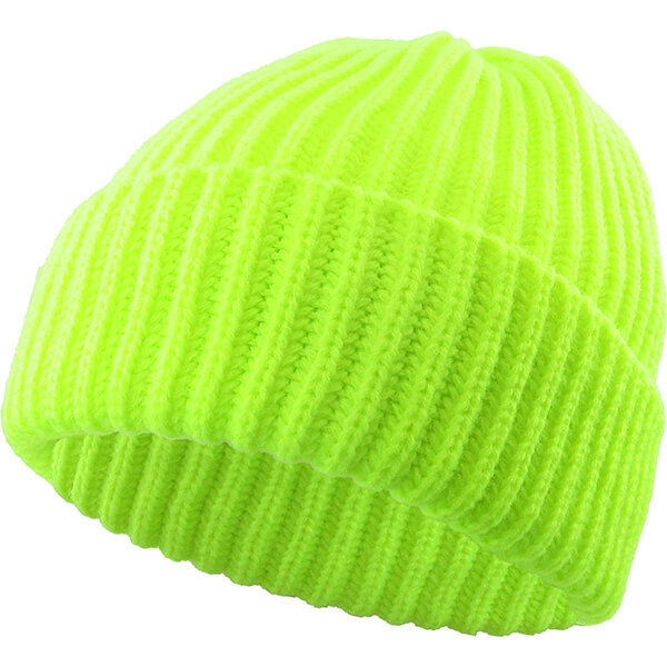 Neon Green Safety Reflective Mens Ribbed Beanie