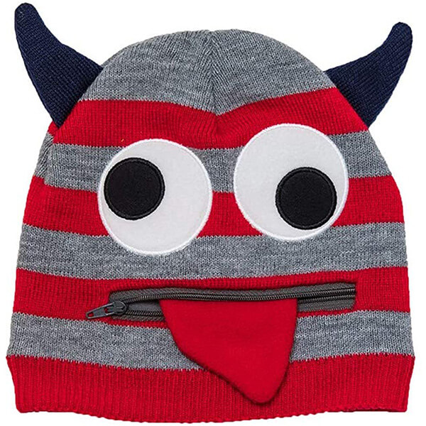 Playful, warm pullout tongue horn beanie