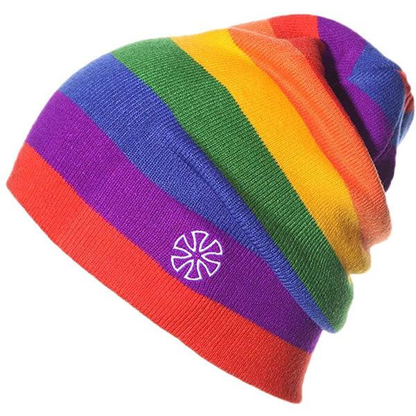 Unisex Rainbow-Striped Slouchy Knit Beanie