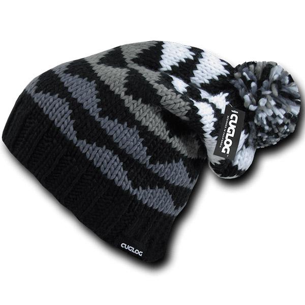 Winter cuffed hat for women with pom pom