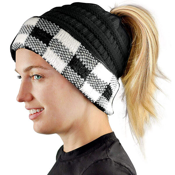 Elegant C.C Ponytail Checkered Beanie