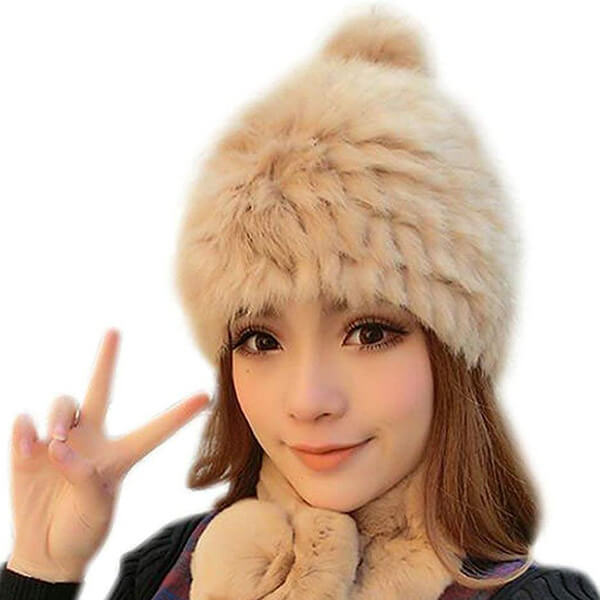 Natural Rabbit Fur Beanie for Fur Lovers