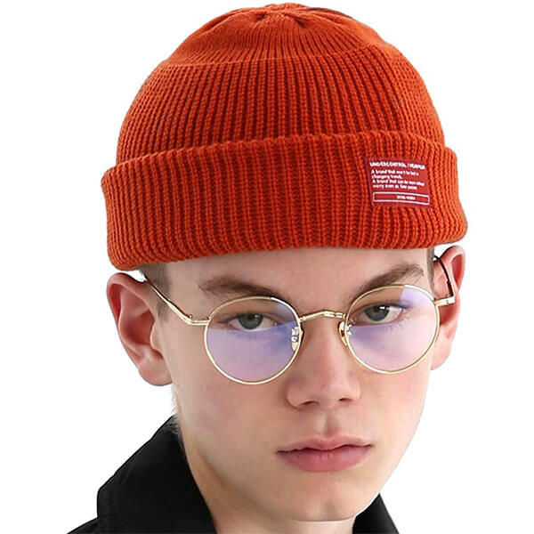 Orange acrylic fisherman beanie for men