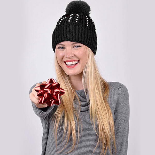 Pearl Winter Knit Beanie Hat