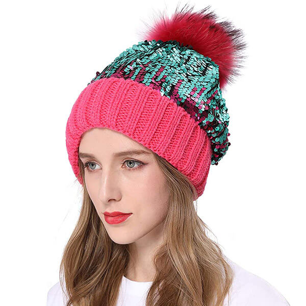 Real fur sequins beanie for teens