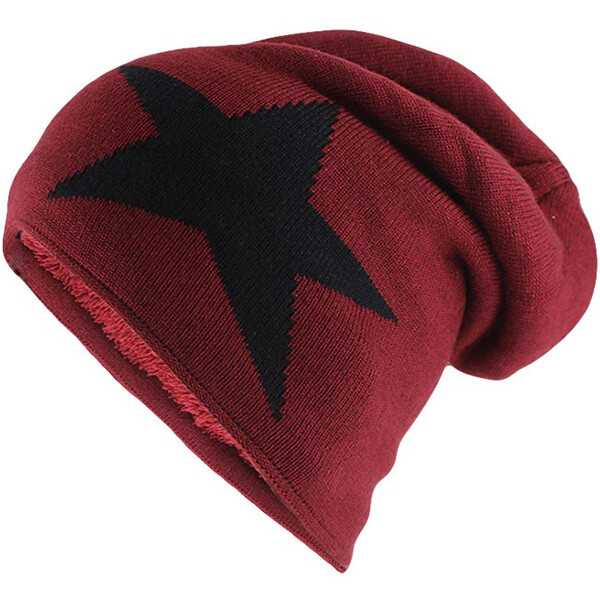 Red slouchy star beanie for teens