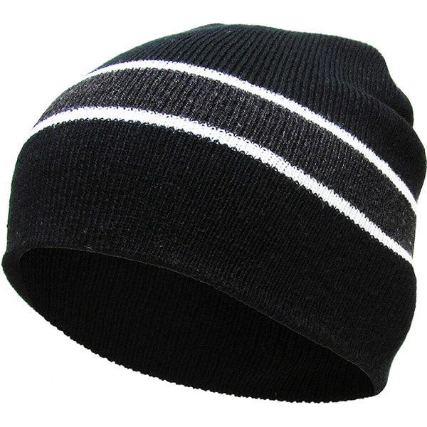 Short striped winter hat