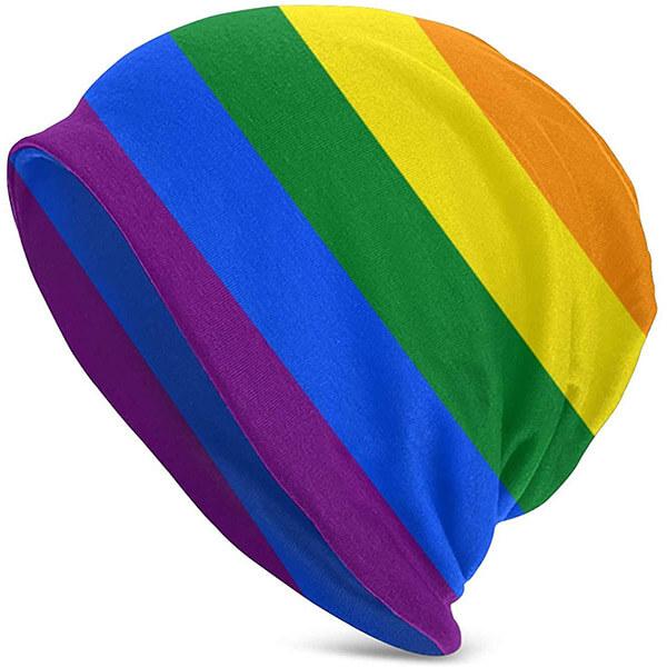 Striped Cotton Baggy Rainbow Beanie