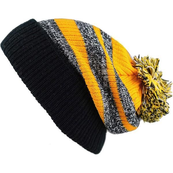 Striped cuffed winter hat with pom pom