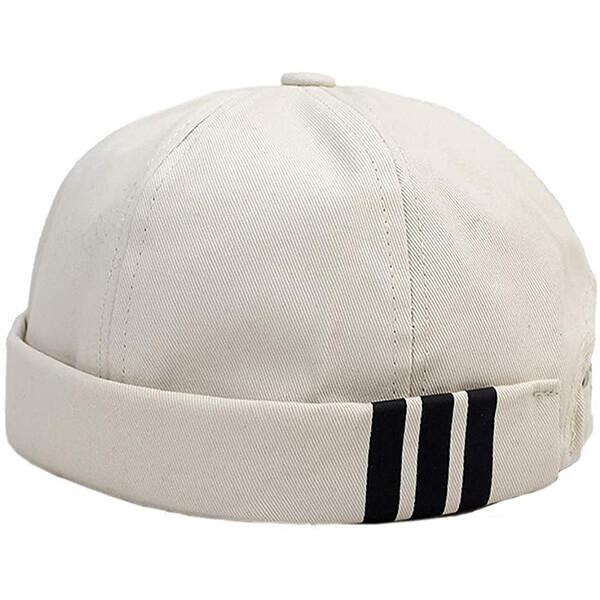 Vintage style white cotton strapback beanie