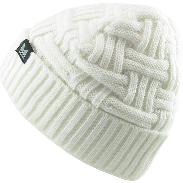 Warm cream colored waffle beanie for cold temperatures