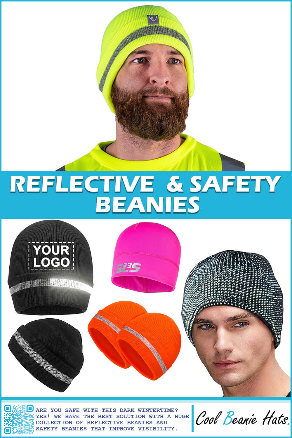 reflective safety beanies