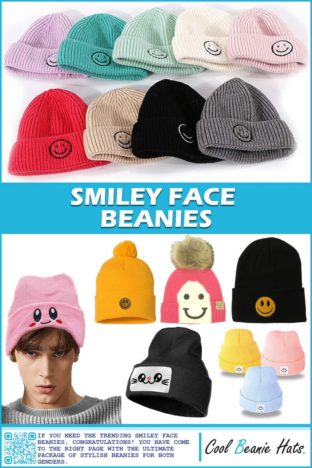 smiley face beanies