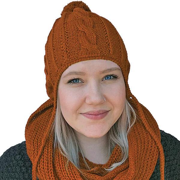Alpaca Wool & Acrylic Knit Beanie with Braids & Pom-Pom