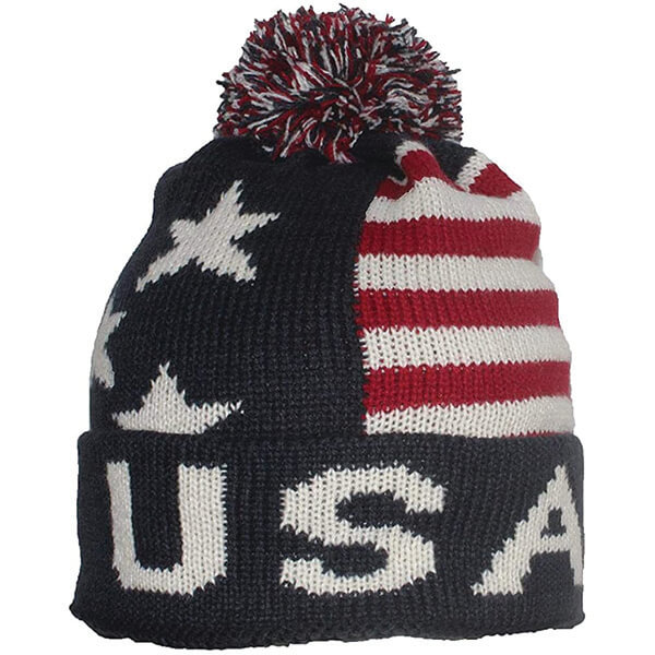 Americana Flag Cuffed Pom Beanie