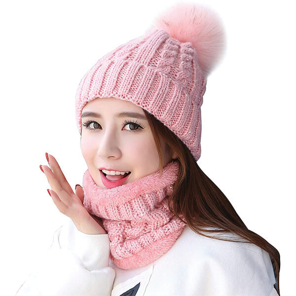 Fuzzy Knitted Beanie With Scarf