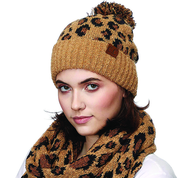 Pom-Pom Leopard Print Beanie in 12 Colors