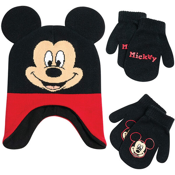 Warm Mickey Beanie with Two Pairs Of Gloves