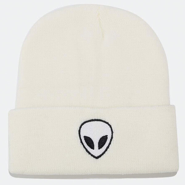 Alien Head Embroidered Double Layer Cuffed Beanie
