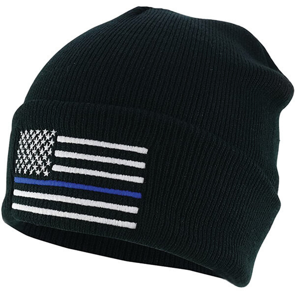 American Flag Embroidered Thin Blue Line Beanie
