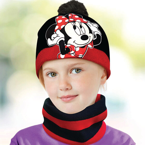 Disney Girls' Minnie Mouse Beanie with Gloves and Scarf