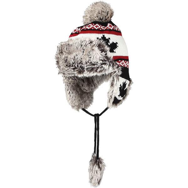 Fleece Maple Fair Isle Beanie Hat with Earflaps
