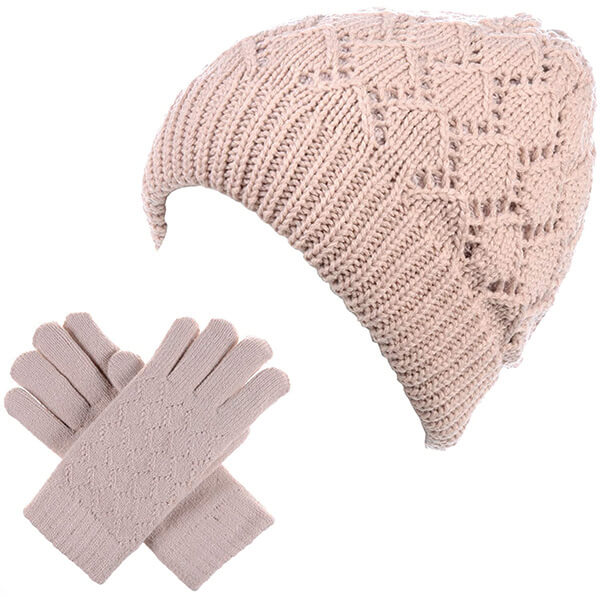 Rolled Up Beanie With Gloves for Women