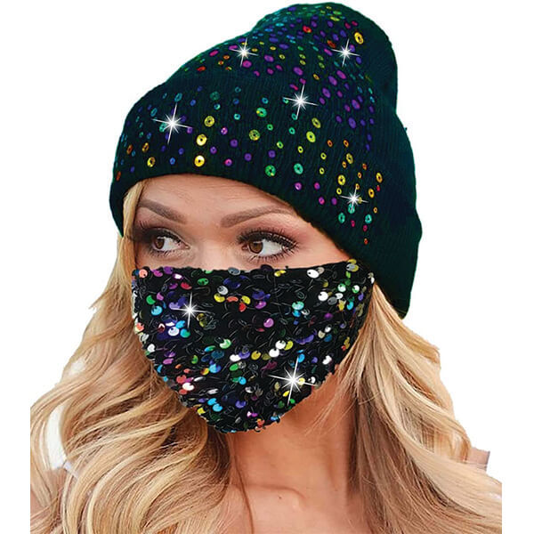 Worth Investing Sequins Knit Beanie With Matching Mask