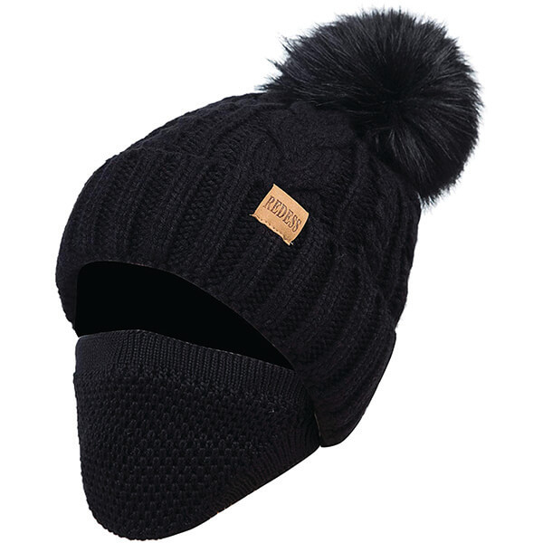Complete Coverage Beanie With Pom-pom On Top