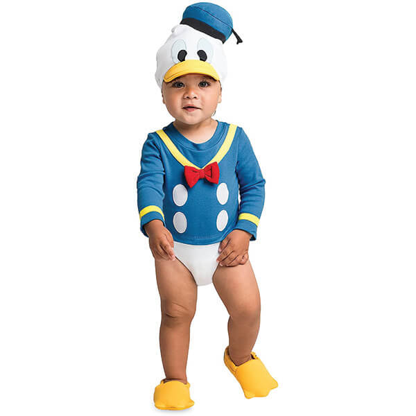 Donald Duck Bodysuit Costume With Hat for 0-2 Years