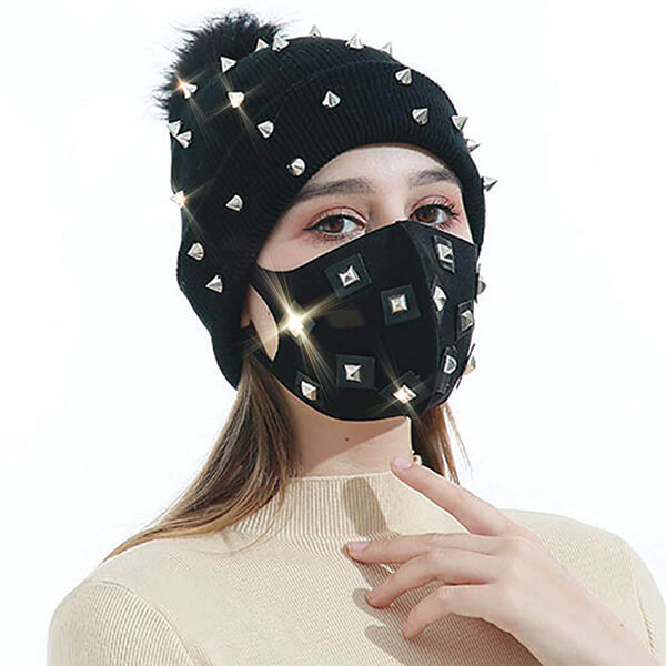Outstanding Knit Bling Beanie and Face Mask
