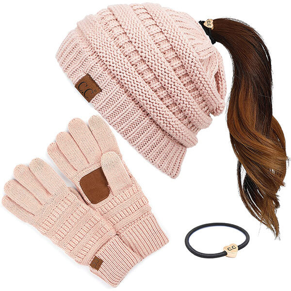 Ponytail Women Acrylic Beanie with Gloves